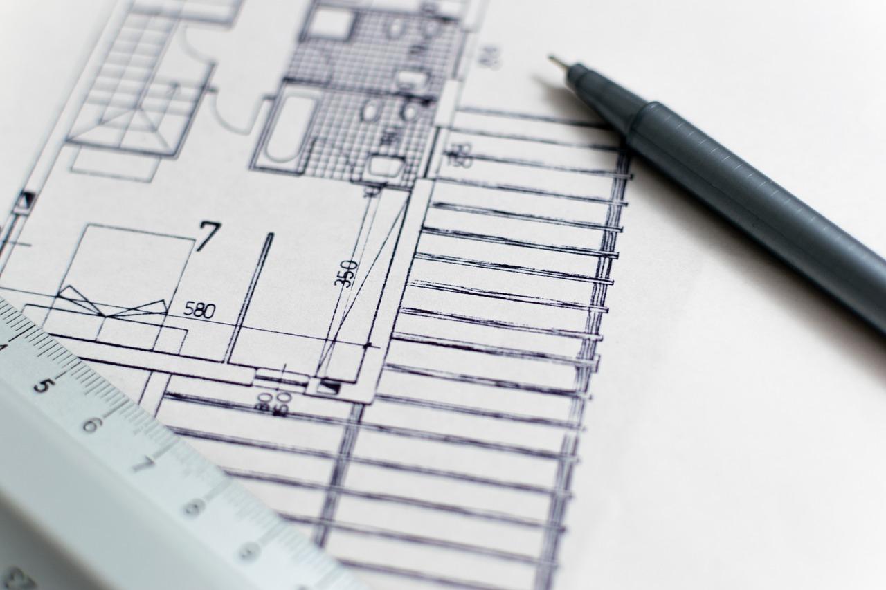 Närbild på arkitektritning.